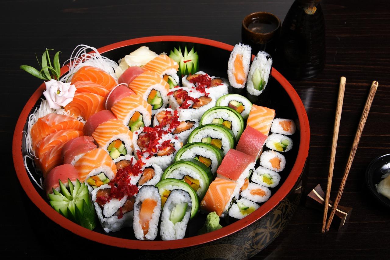 sushi, fish, food