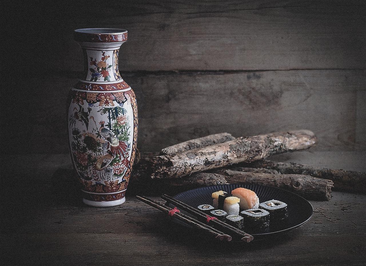 sushi, vase, wood